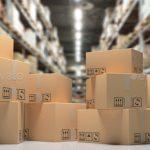 Cardboard boxes on blur storage warehouse shelves background,  Distribution, cargo and logistics concept. 3d illustration